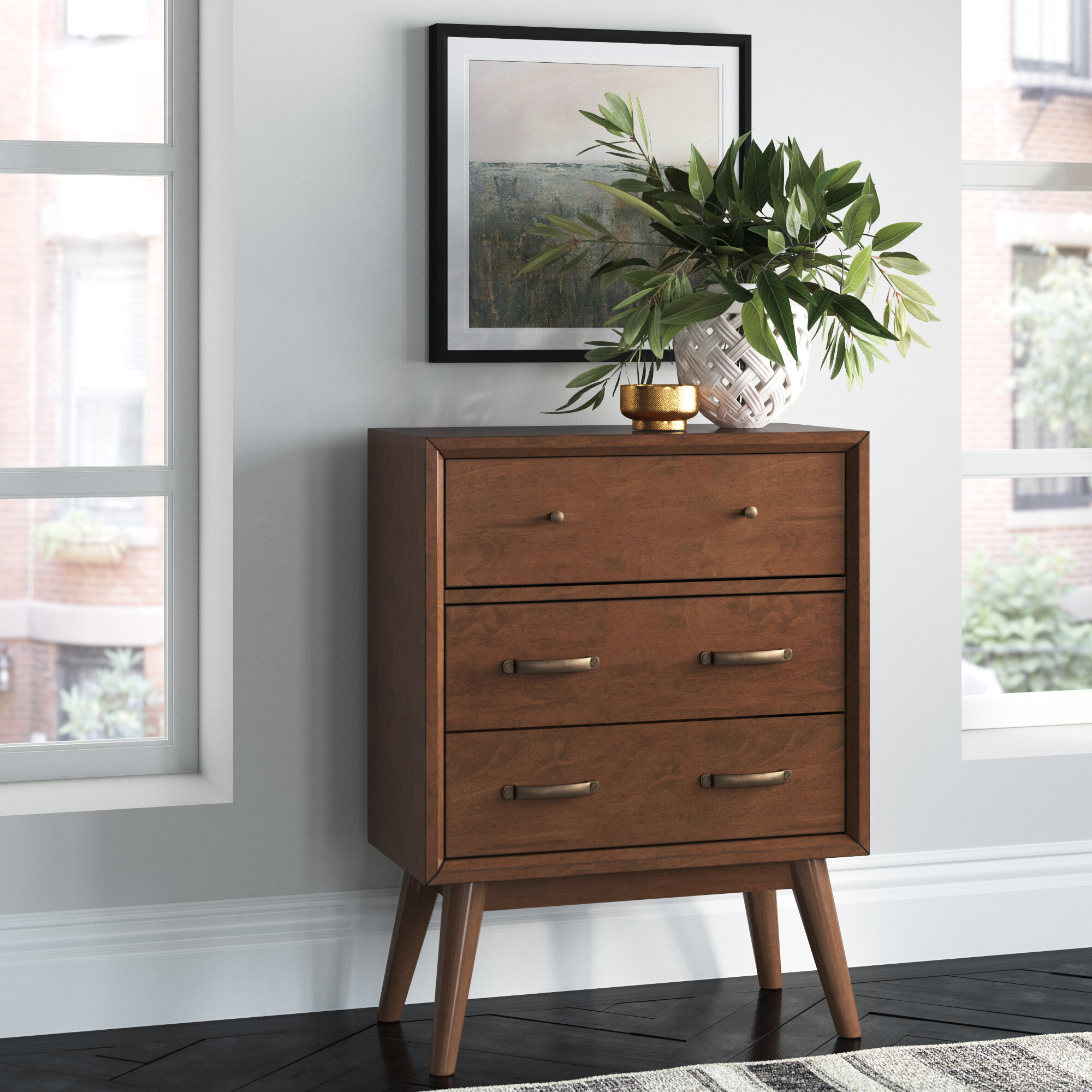 Carnell Mid Century Modern 3 Drawer Accent Chest Reviews