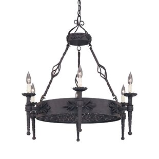 Top Reviews Goodwyn 6-Light Wagon Wheel Chandelier By Fleur De Lis Living