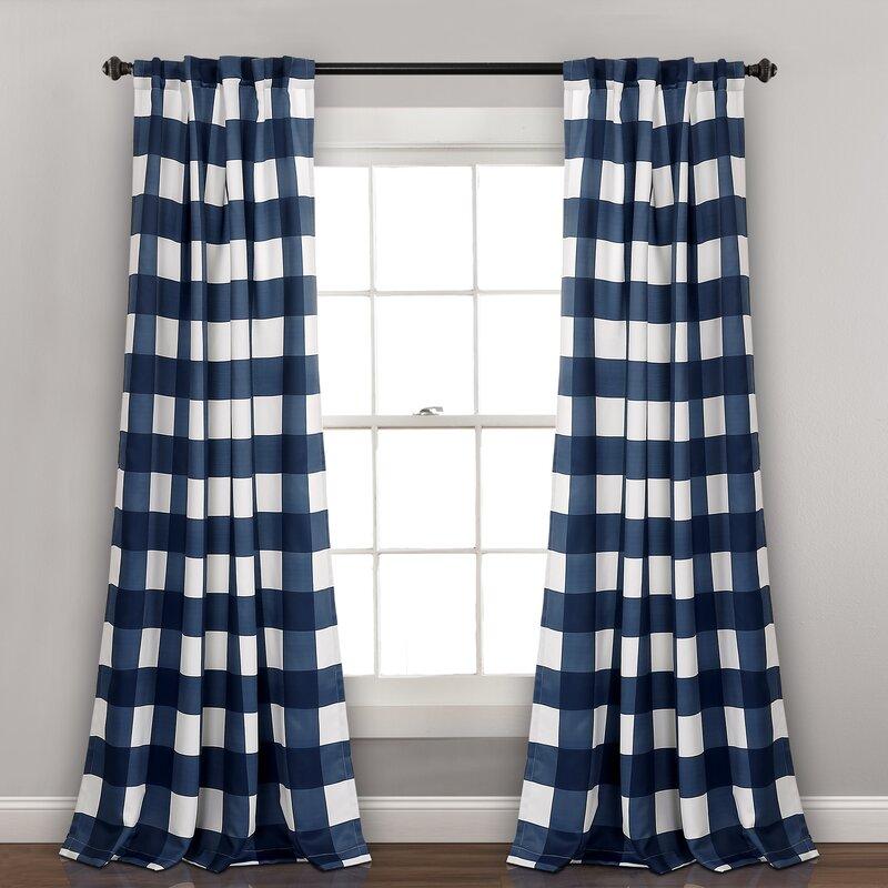 Angeles Checker Room Darkening Rod Pocket Curtain Panels