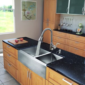 VIGO 33 inch Farmhouse Apron 60/40 Double Bowl 16 Gauge Stainless Steel Kitchen Sink with Graham Stainless Steel Faucet, T...