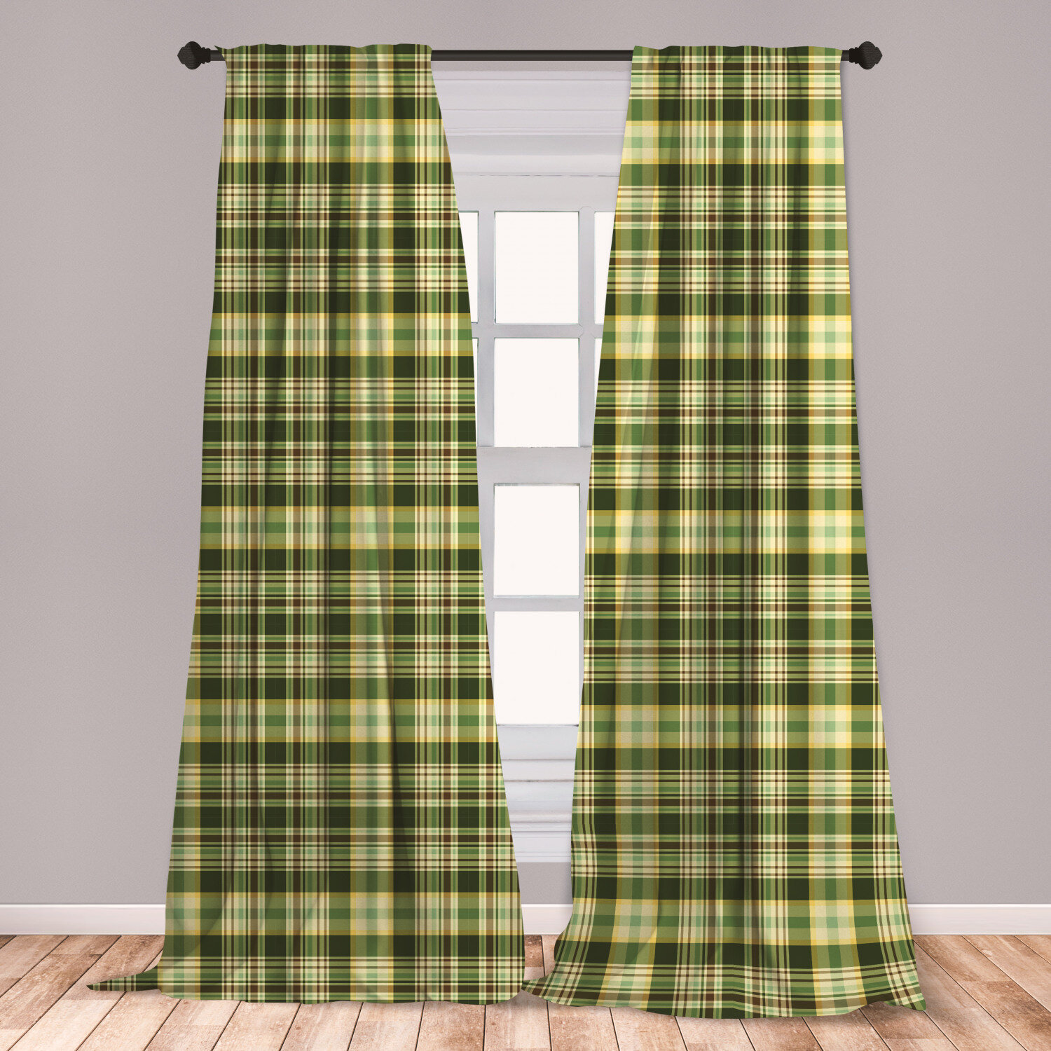 East Urban Home Ambesonne Olive Green 2 Panel Curtain Set Quilt Pattern Traditional Scottish Design Checkered Geometrical Lightweight Window Treatment Living Room Bedroom Decor 56 X 63 Dark Green Yellow Brown Wayfair