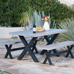 Gracie Oaks Warlick Outdoor Light Weight Concrete Picnic 3 Piece Dining Set