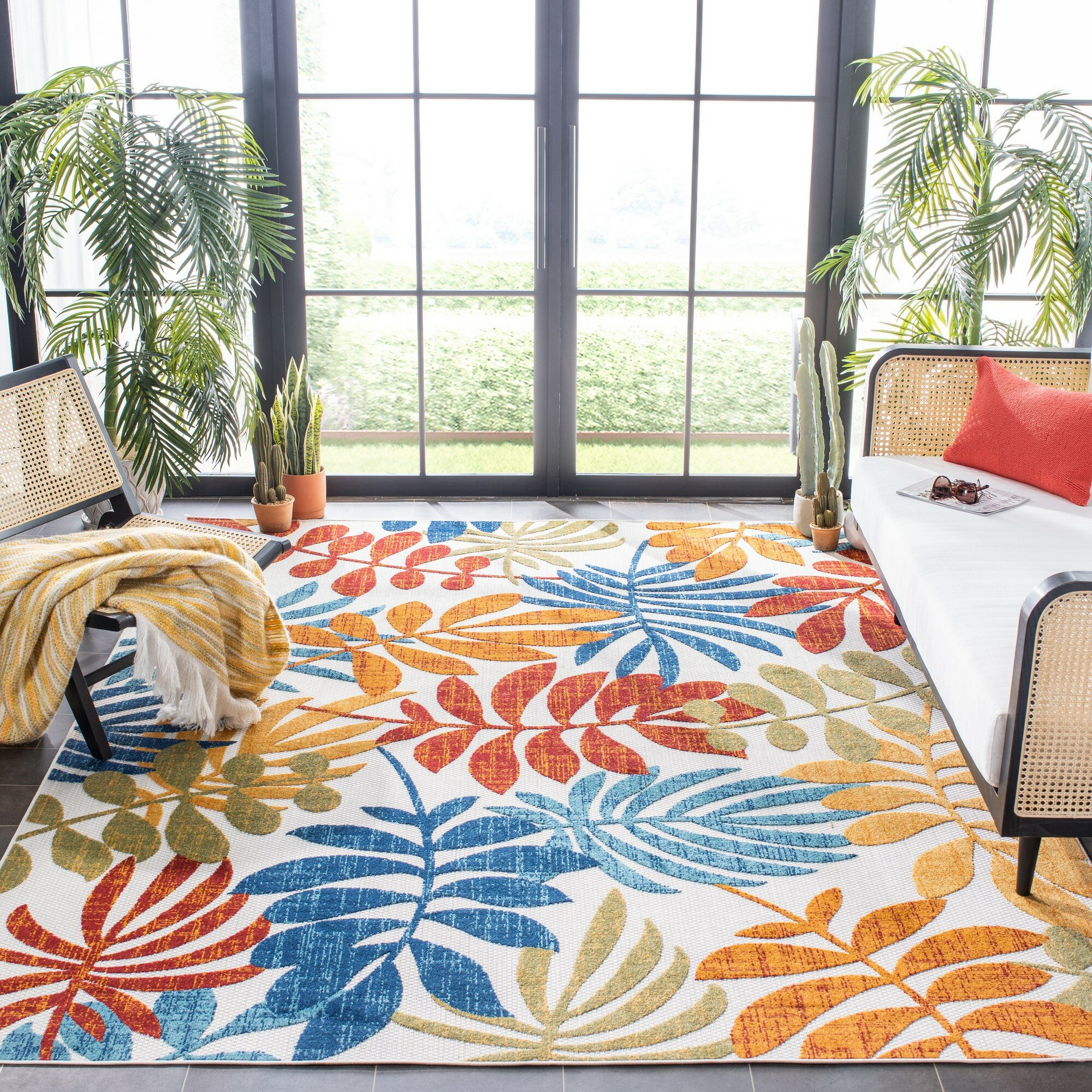 Bay Isle Home Anakin Floral Red Blue Indoor Outdoor Area Rug Reviews Wayfair