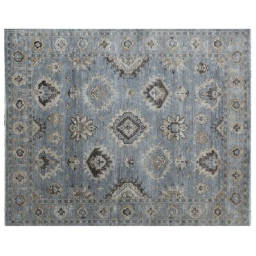oushak handknotted wool bluegray area rug