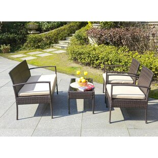 Boveney 4 Piece Rattan Sofa Set with Cushions