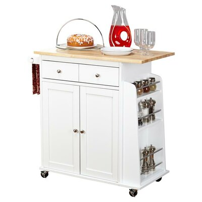 Ferraro Kitchen Cart with Wooden Top Base Finish: White by Alcott Hill