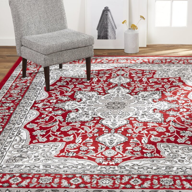 Charlton Home Arend Red Grey Area Rug Amp Reviews Wayfair Ca