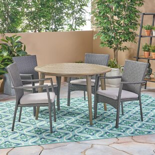 Bungalow Rose Briar Outdoor 5 Piece Dining Set with Cushions