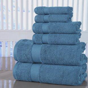 Laver Tissu Serviettes de bain Set Côtelé Style 6 Set Gris Coton Peigné Qualité Hôtel