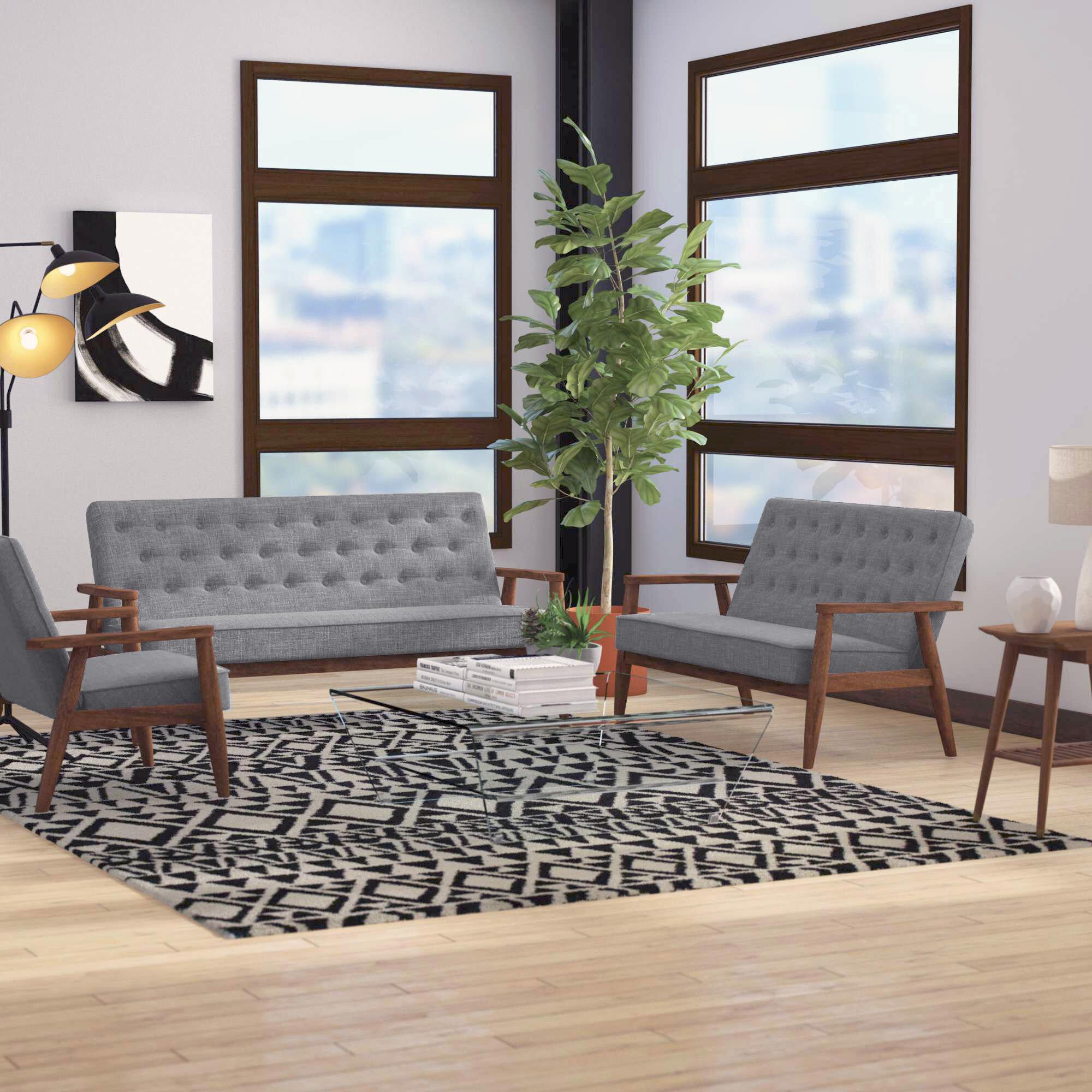Zipcode Design Zoee 3 Piece Wood Frame Living Room Set Reviews Wayfair