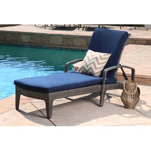 Ostrowski Outdoor Wicker Adjustable Reclining Chaise Lounge
