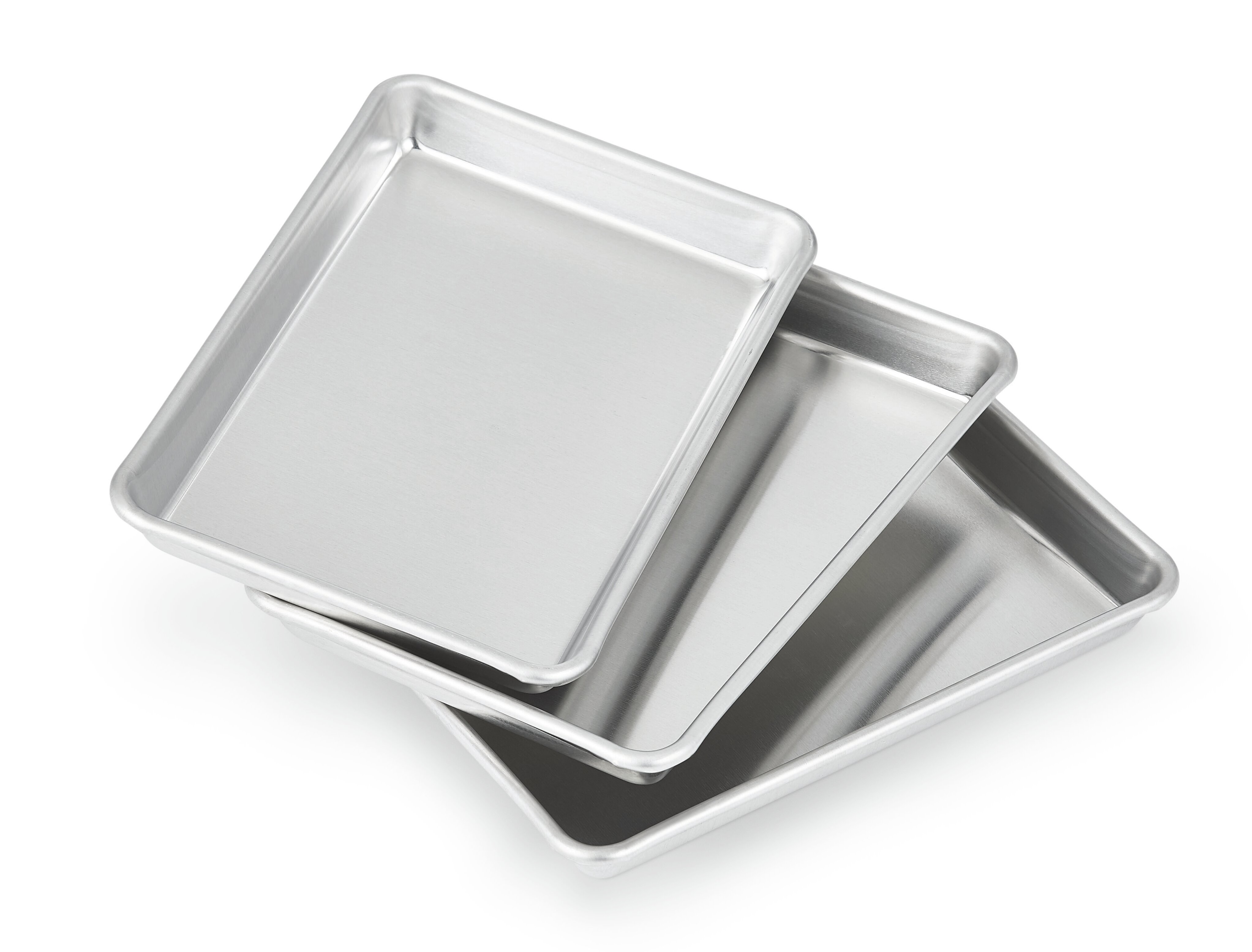 Stainless-Steel Baking Pan Large Cookie Sheet Set For Toaster Oven Tray Useful