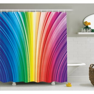 Psychedelic Warped Contour Stripes Dynamic Motion Modern Artwork Shower Curtain Set
