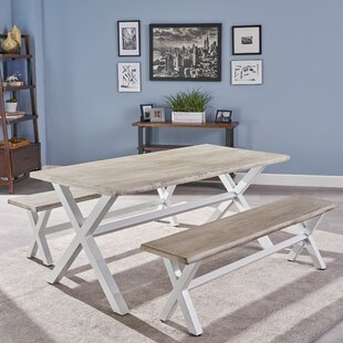 Acacia Wood 3 Piece Solid Wood Dining Set