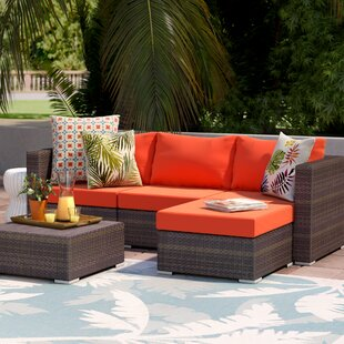 Asther 5 Piece Rattan Sectional Sectional Seating Group
