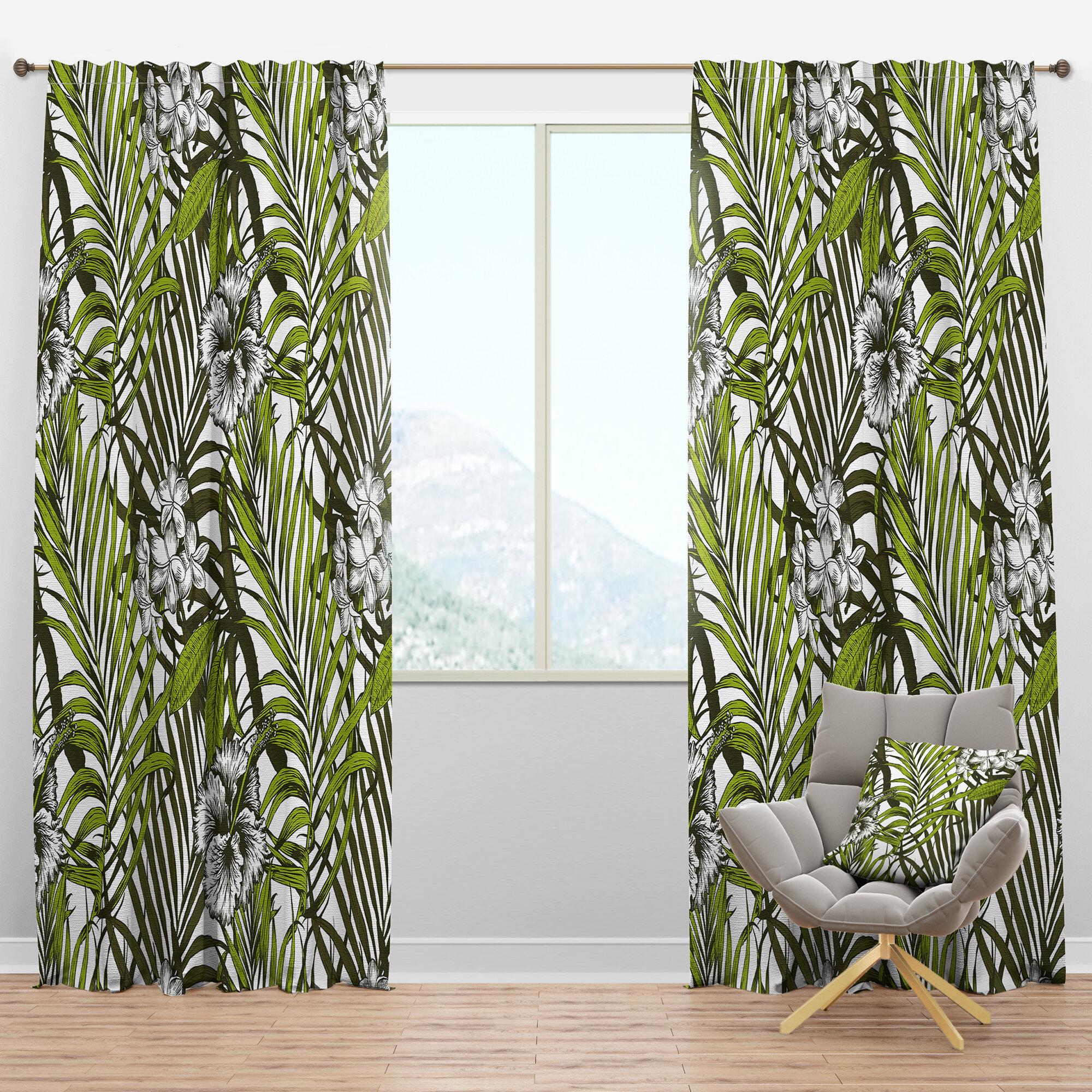 Designart Mid Century Tropical Palm Leaves I Floral Semi Sheer Thermal Rod Pocket Curtain Panels Wayfair