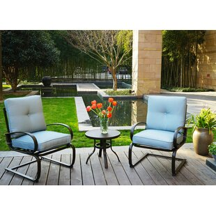 Erin 3 Piece Patio 2 Person Seating Group with Cushions