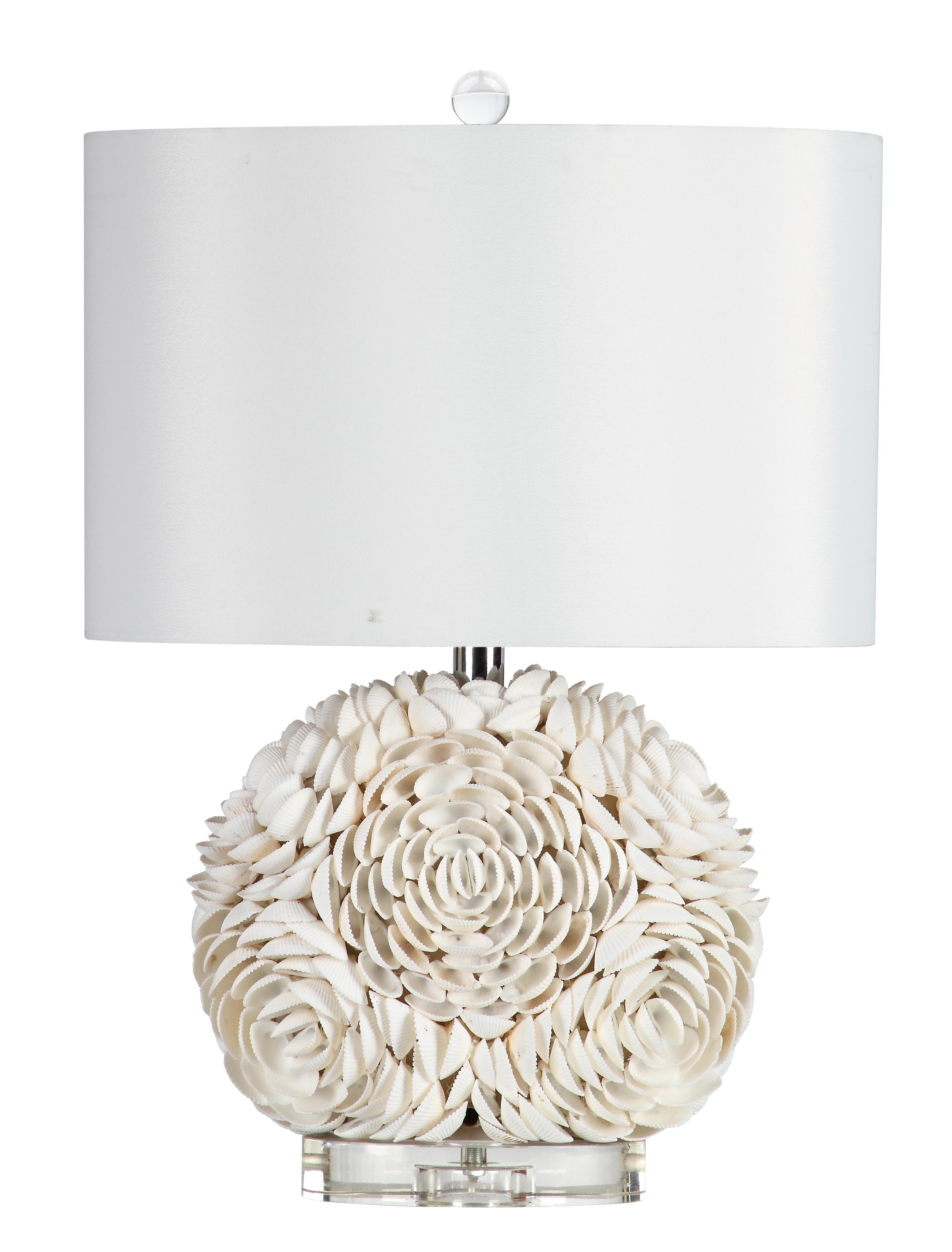Marianahome seashell peony 215quot table lamp wayfair for Best brand of paint for kitchen cabinets with wall art for kids bathroom