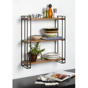 Mcclaine Wood and Metal Floating Wall Shelf