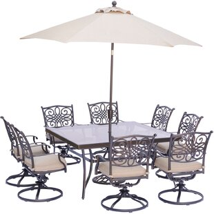 Carleton 9 Piece Square Dining Set With Natural Oat Cushions By Fleur De Lis Living