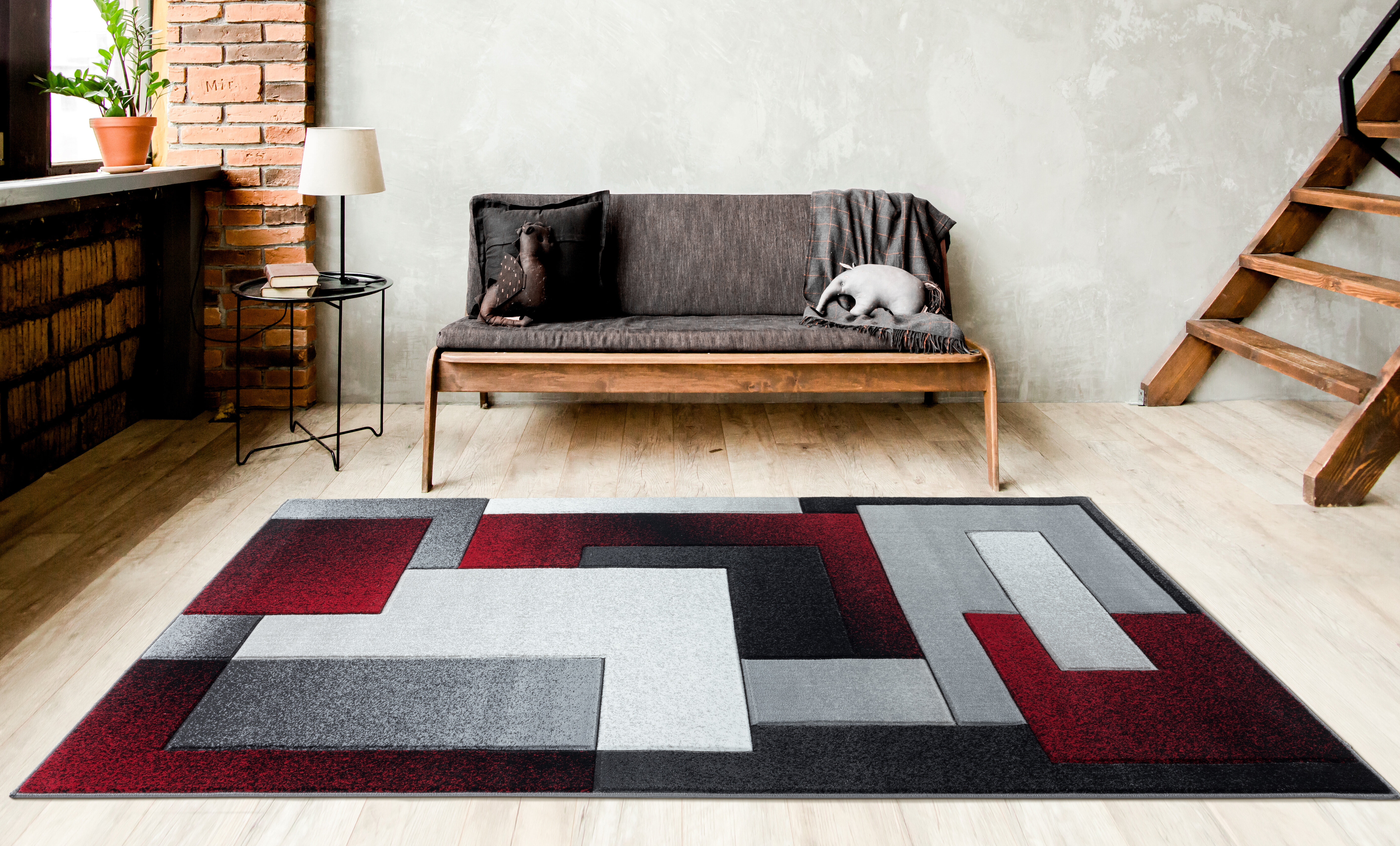 Wrought Studio Adonia Geometric Gray Black Burgundy Area Rug Wayfair