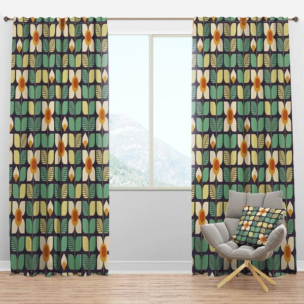 Designart Mid Century Botanical Design Iii Geometric Semi Sheer Thermal Rod Pocket Curtain Panels Wayfair
