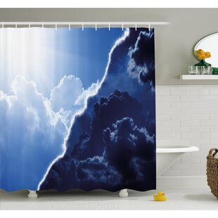 Composite of Dark and Lightness Theme in Diverse Tones of Skyline Weather Shower Curtain Set