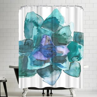 Jetty Printables Watercolor Blue and Green Succulent 2 Single Shower Curtain