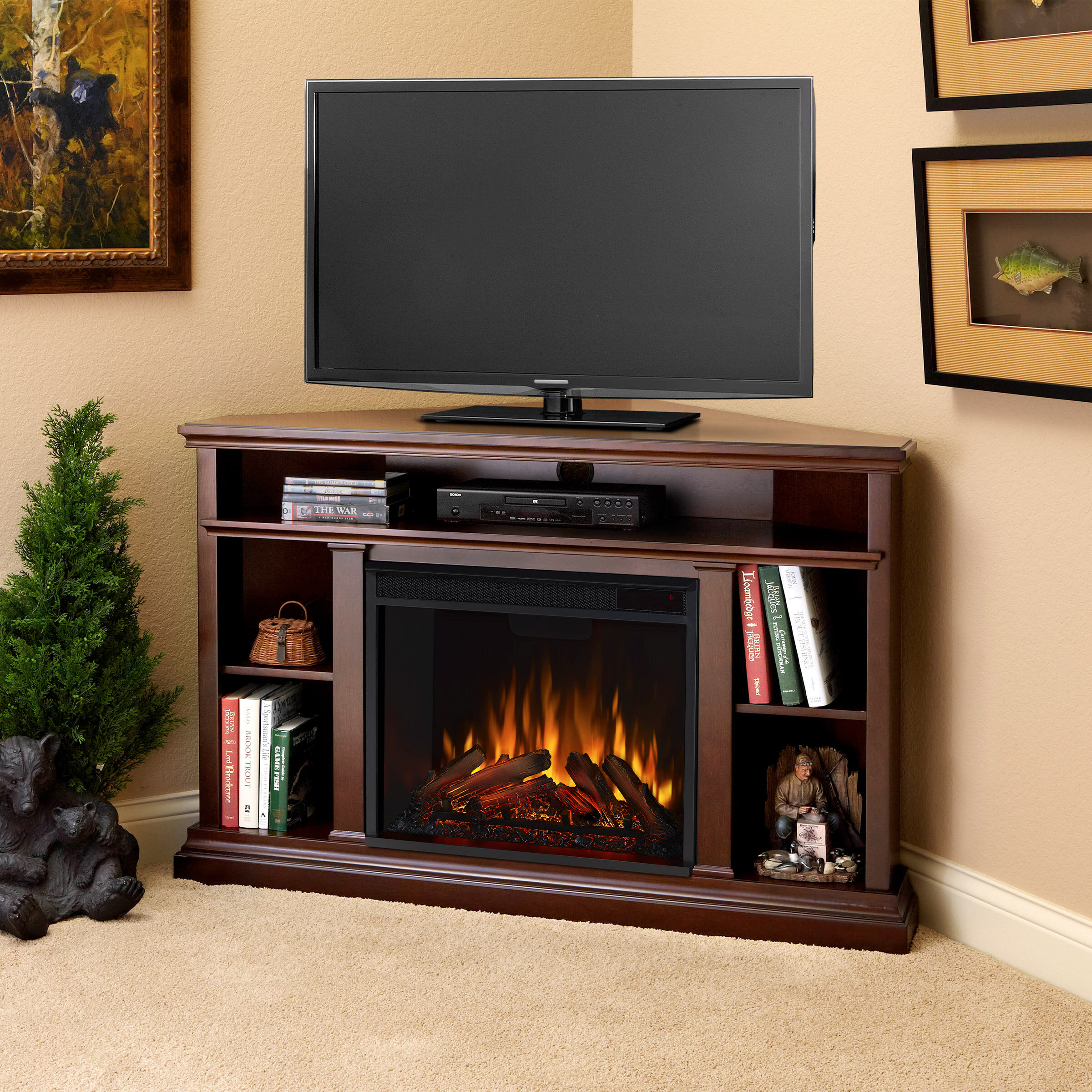 Real Flame Churchill Corner Unit Tv Stand For Tvs Up To 50 With Fireplace Included Reviews