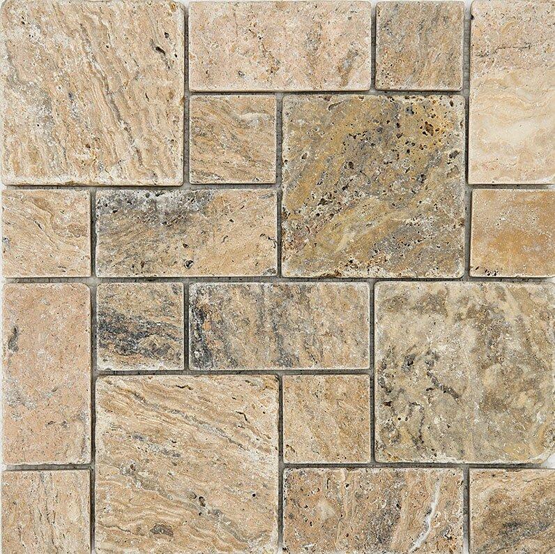 Random Sized Travertine Mosaic Tile