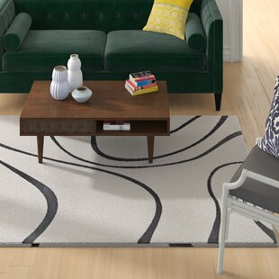 Reviews Winvian Abstract Swirl Ivory/Charcoal Area Rug By Orren Ellis