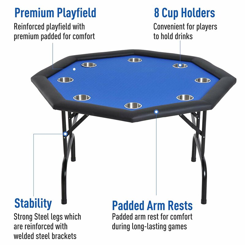 Portable 8 Player Folding Poker Card Table Casino Texas Holdem Legs Drink Holder
