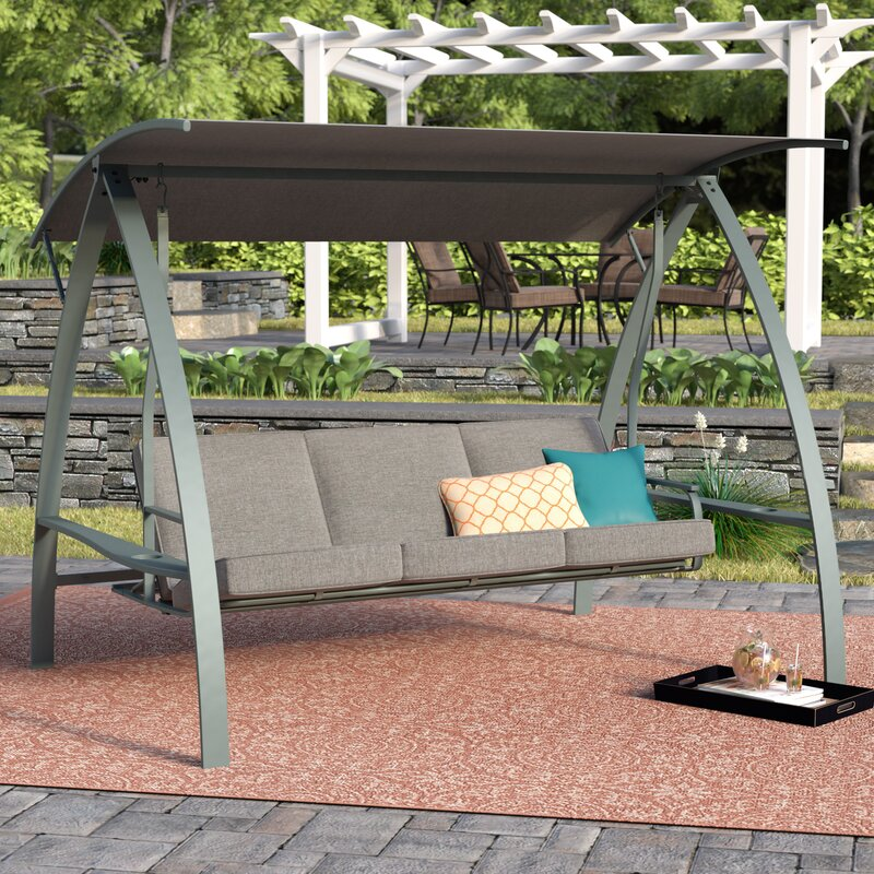 Andover Mills Marquette 3 Seat Daybed Porch Swing With