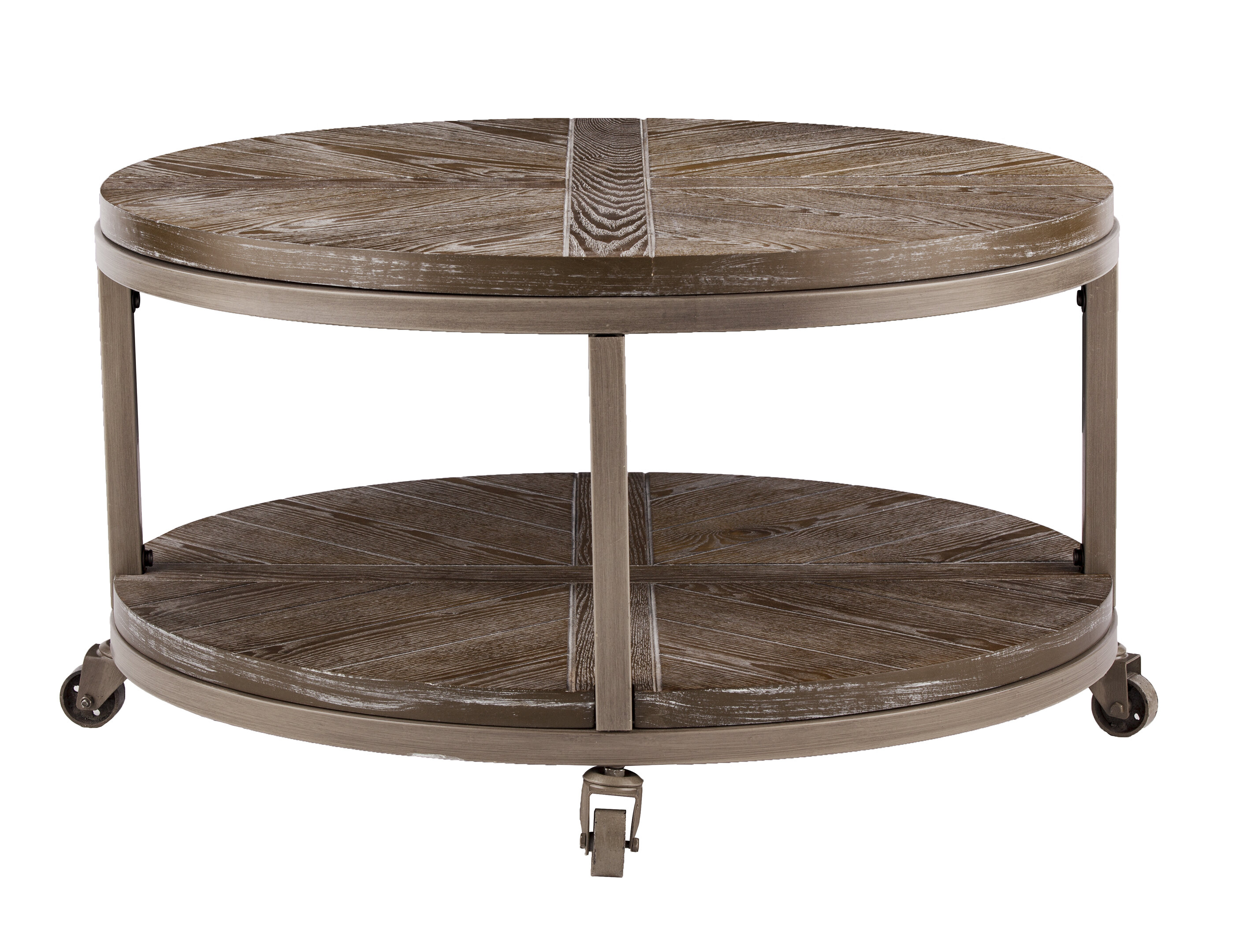 - Union Rustic Brien Urban Industrial Round Cocktail Table, White