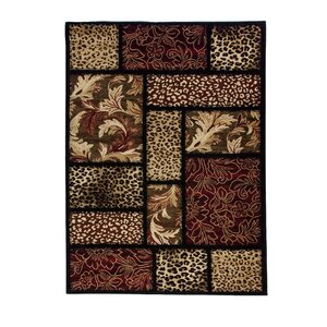 Emeril Leopard Animal Print Black Area Rug