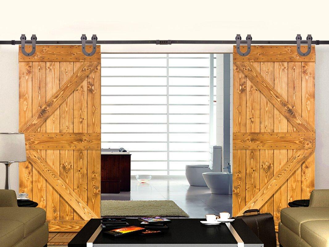 Calhome Classic 12 Ft Horseshoe Barn Style Sliding Double Door
