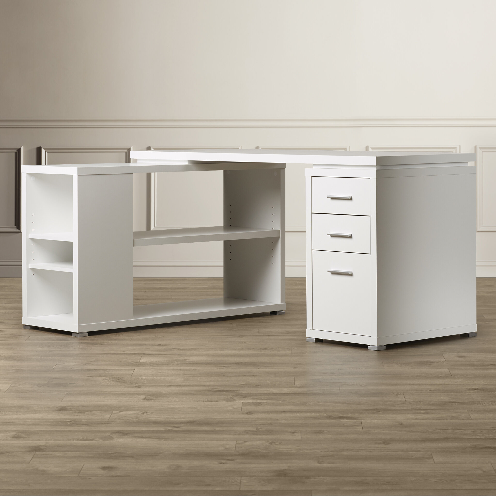 Willa Arlo Interiors Drewes 3 Drawer L Shaped Desk Reviews Wayfair