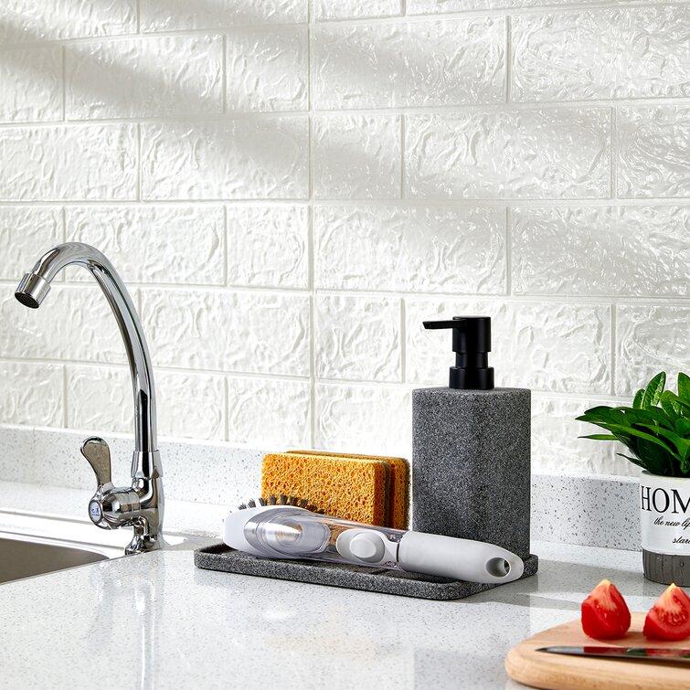 Zccz Sponge Holder And Soap Dispenser Bathroom Kitchen Sink Organizer Tray Caddy Storage For Sponges Scrubber Soap Dispenser And Other Dishwashing Accessories 2 Piece Bathroom Accessory Set Reviews Wayfair