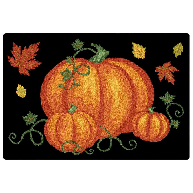 The Holiday Aisle Pumpkin Patch Halloween Wool Black Area Rug Reviews Wayfair