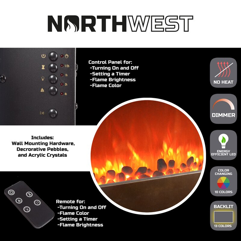17 Stories Crites Wall Mounted Electric Fireplace Reviews Wayfair