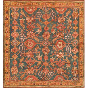 One-of-a-Kind Antique Oushak Handwoven Wool Teal/Orange Indoor Area Rug By Mansour