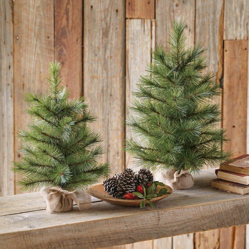 Faux Pine Christmas Tree in Burlap Base