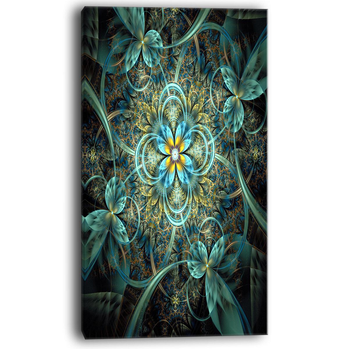 Designart Glittering Dark Orange Fractal Flower Graphic Art On Wrapped Canvas Wayfair