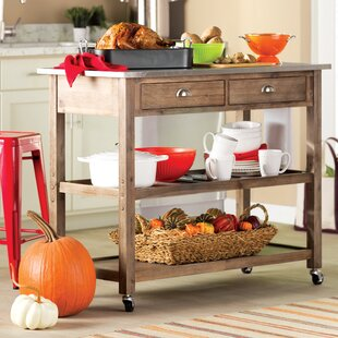Weldona Kitchen Cart with Stainless Steel Top Trent Austin Design