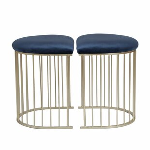 Wynkoop Half-Oval Velvet Upholstered Vanity Stool (Set of 2) by Mercer41