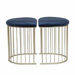Wynkoop Half-Oval Velvet Upholstered Vanity Stool (Set of 2) by Mercer41