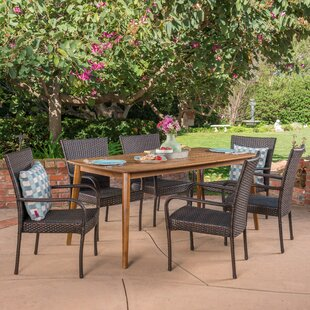 Townsel Outdoor 7 Piece Wicker Dining Set
