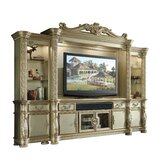 Traditional Wood And Glass Entertainment Center With Carvings, Gold by Benjara
