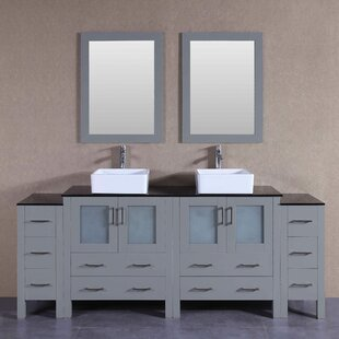 Stockbridge 84 Double Bathroom Vanity Set with Mirror by Bosconi