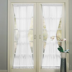 sheer voile emily solid sheer rod pocket single curtain panel